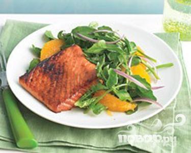 Лосось с кресс-салатом