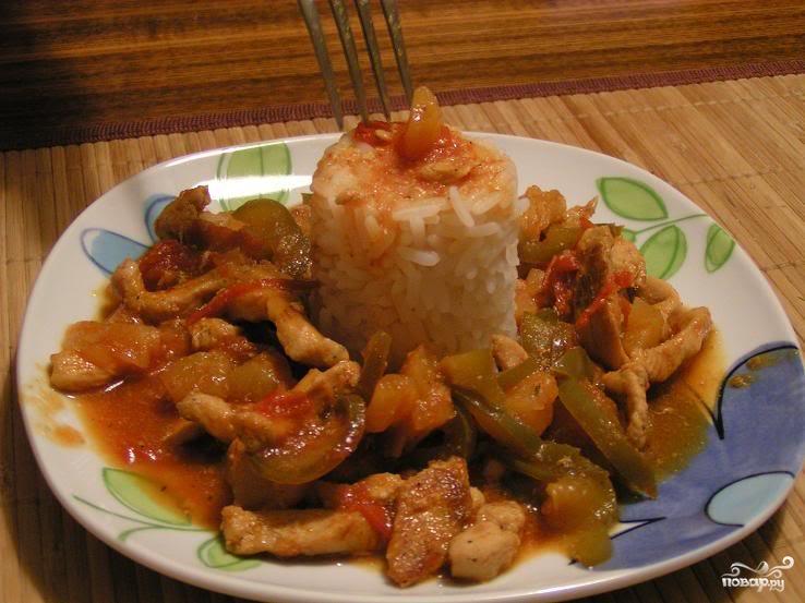 Курица по-китайски с ананасами