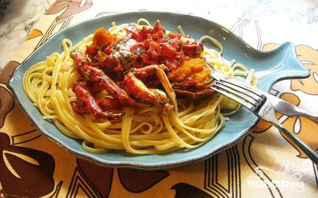 Рецепт Паста с крабовым мясом и зеленью