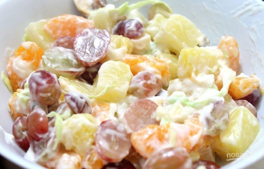 рецепт салата из ананаса и курицы и огурцов