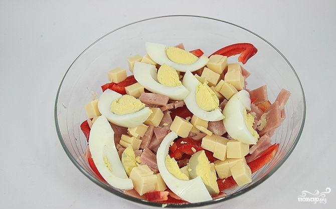 Салат с помидорами, ветчиной и сыром - фото шаг 3