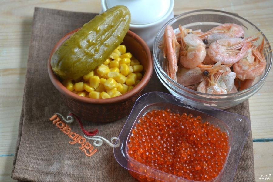 салат рецепт с креветками и икрой и семгой