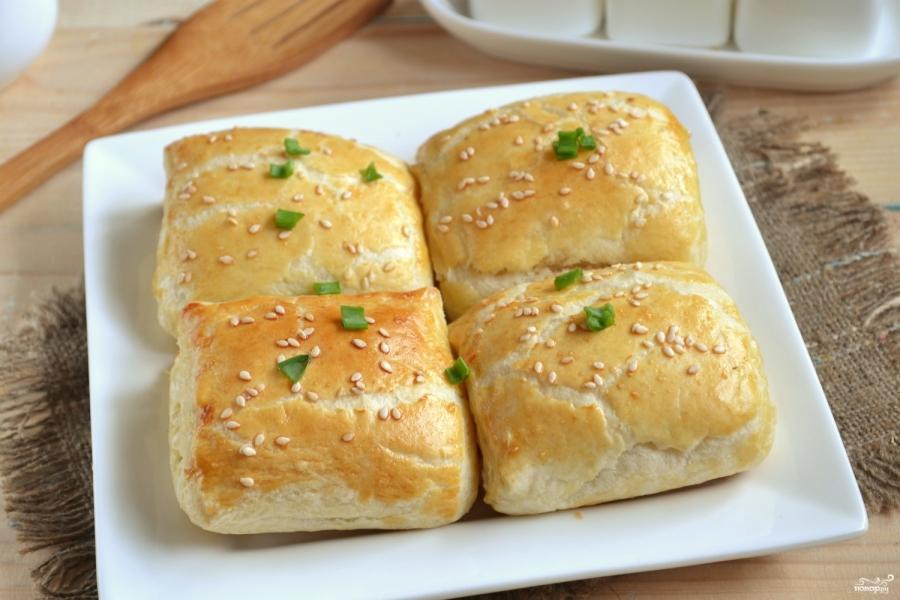 Слойки с сыром из готового слоеного теста - фото шаг 6