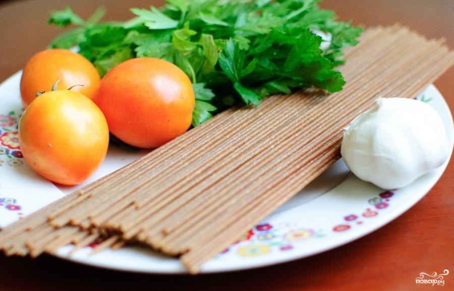 Рецепт Спагетти с базиликом и помидорами