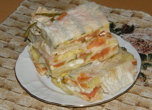 Слоеный пирог из лаваша - фото шаг 5