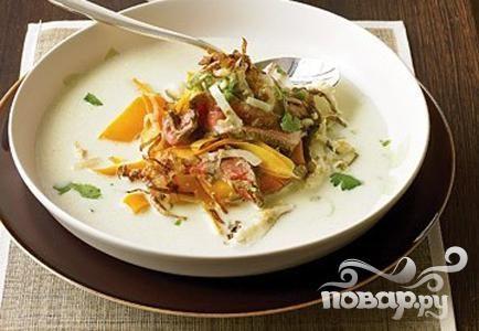 Рецепт Кокосовый суп с говядиной и луком