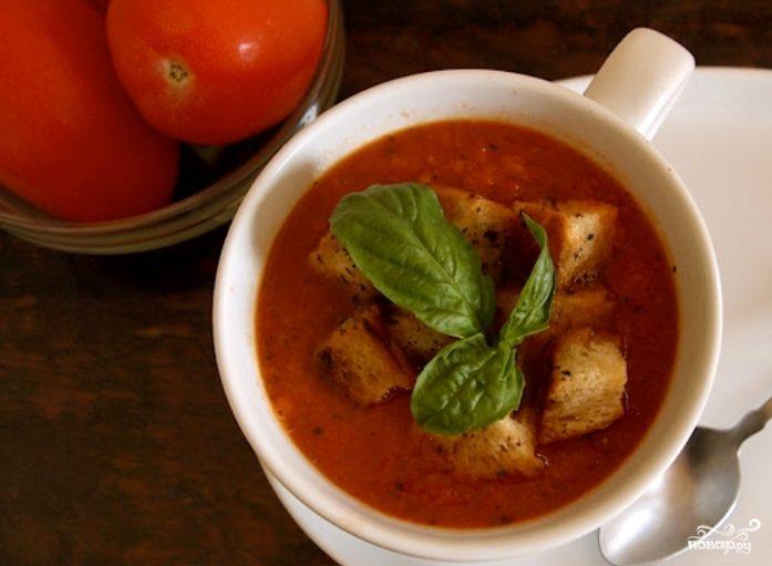Томатный суп с сухариками