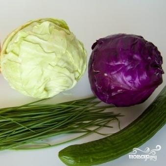Рецепт Салат из двух видов капусты и огурцов