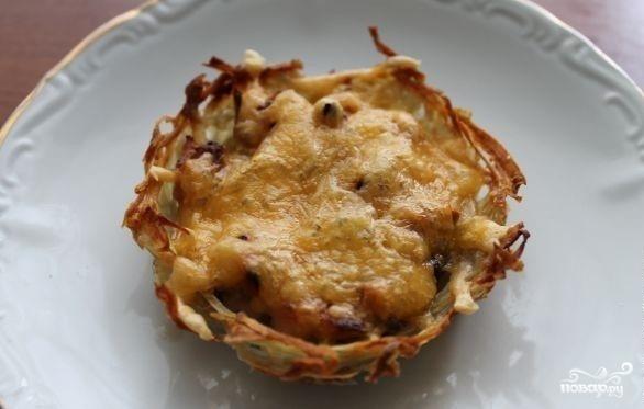 Картофельные тарталетки с грибами - фото шаг 5