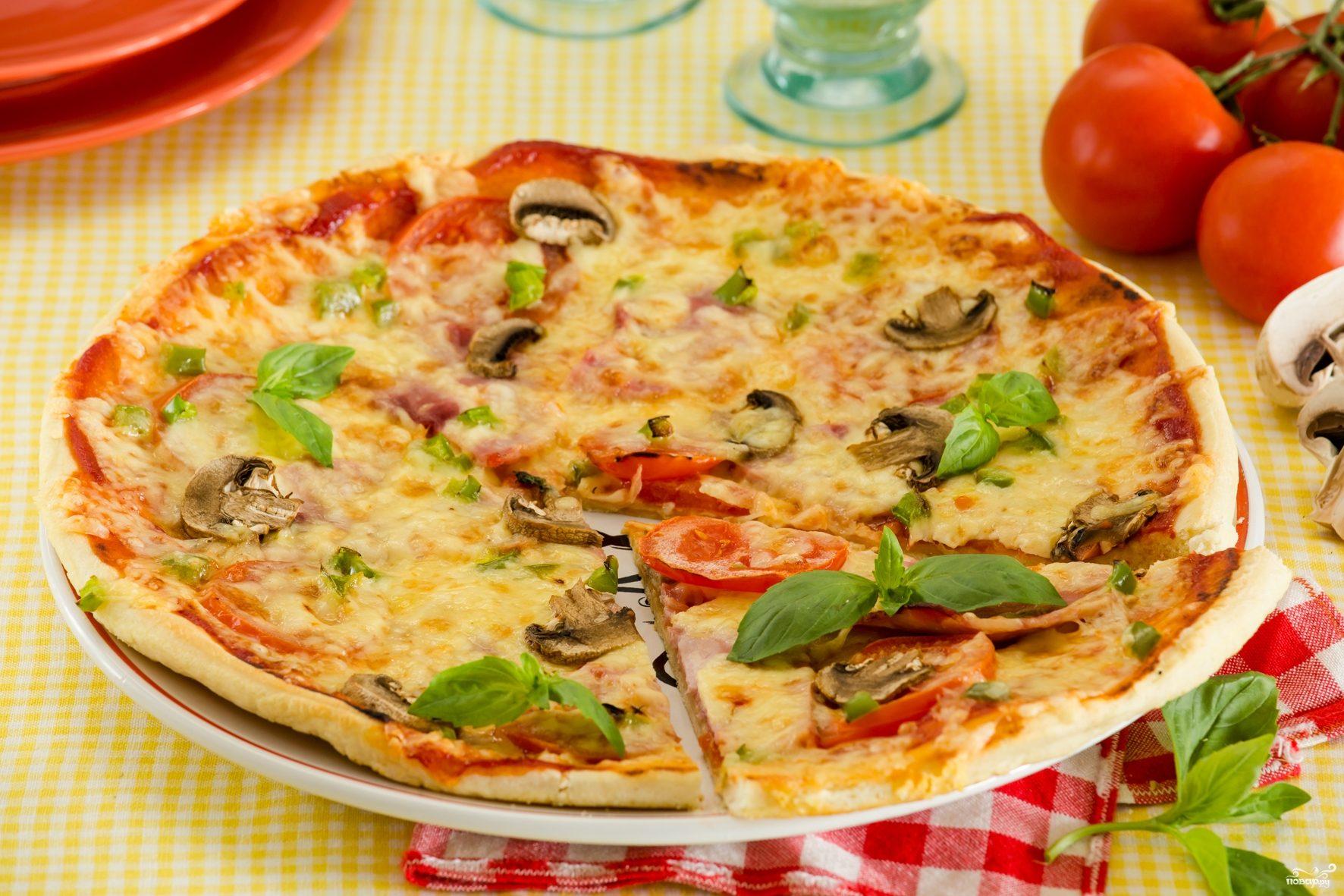 рецепт пиццы на сковородке 5 минут