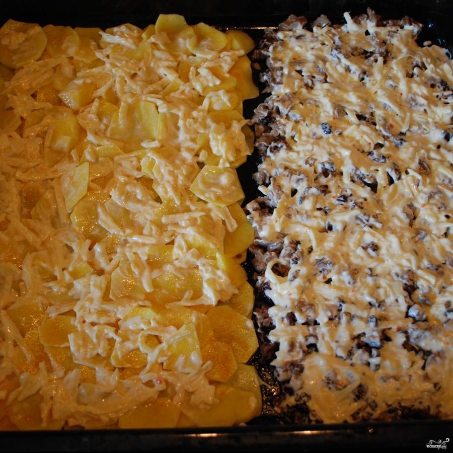 картошка грибы сыр духовке рецепт
