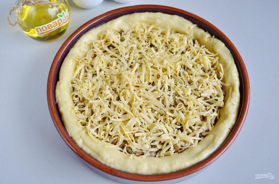 Картофельный пирог с грибами и сыром
