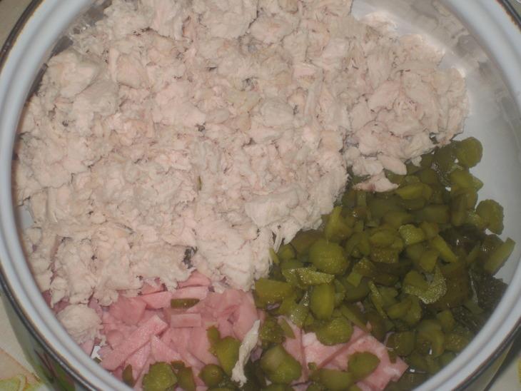 Салат грибной с ветчиной - фото шаг 3