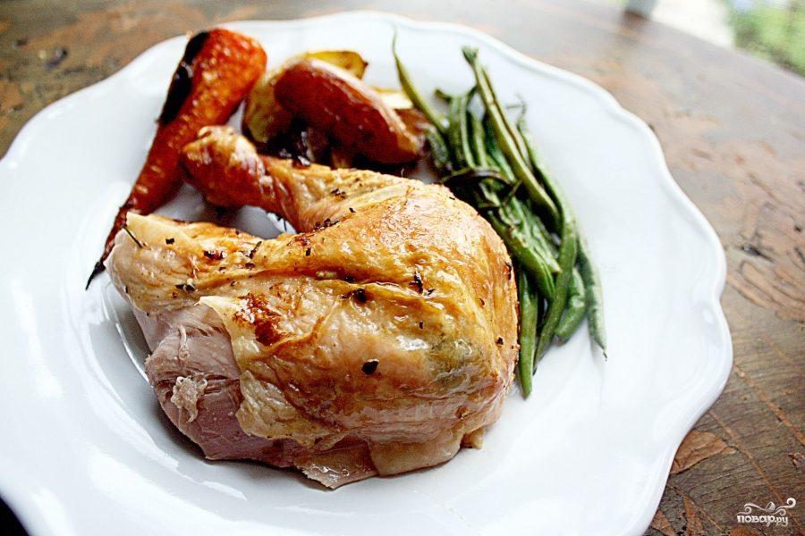 Жареный цыпленок с чесноком