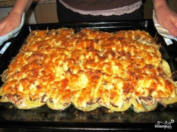 мясо по-французски из куриного фарша с картошкой в духовке рецепт с фото