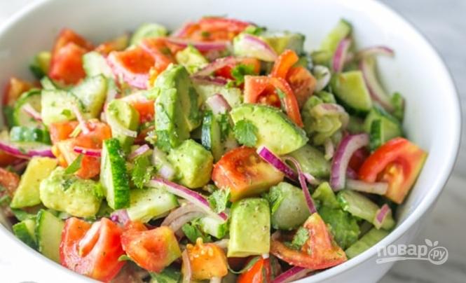 Простой салат с авокадо пошаговое