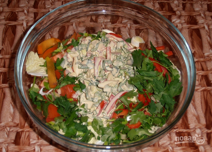 рецепты салатов из пекинской капусты с помидорами