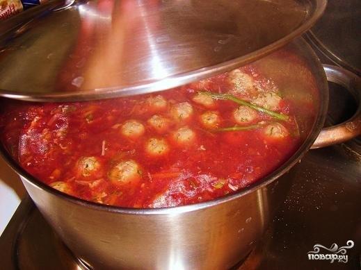 Суп с фрикадельками и томатной пастой - фото шаг 7