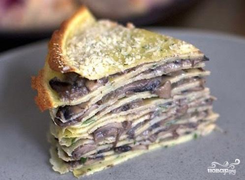 Рецепт Блинный торт с грибами и сыром