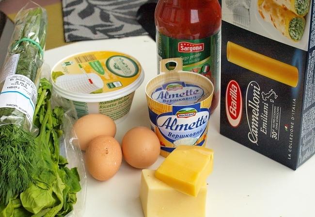 Рецепт Каннеллони с рикоттой и шпинатом