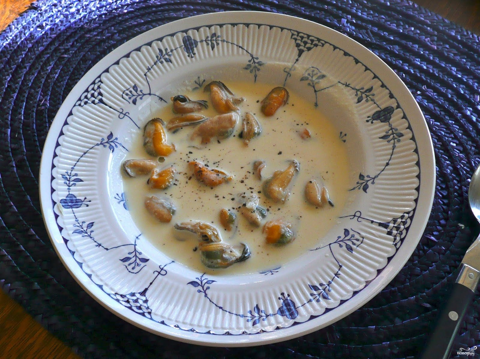 Суп из мидий со сливками