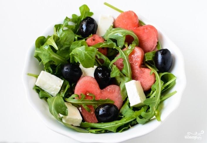 Салат с арбузом и брынзой