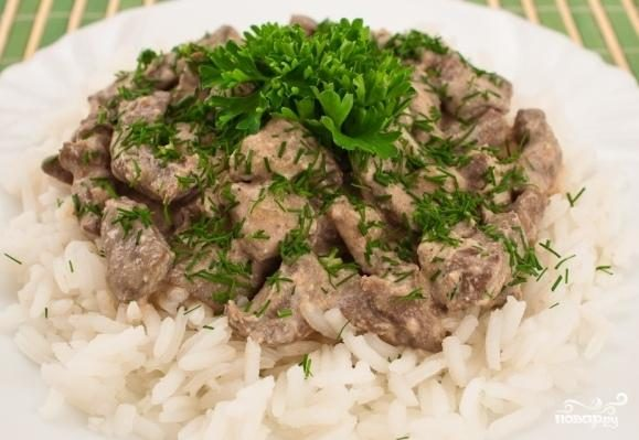 Рецепт Печенка по-строгановски