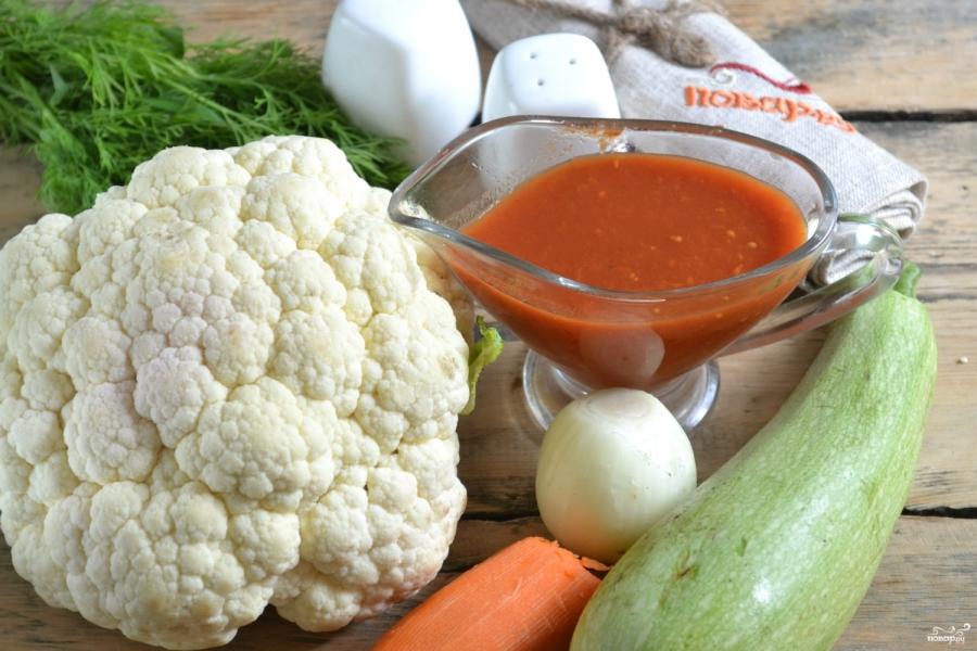 Овощное рагу с цветной капустой и кабачками - фото шаг 1