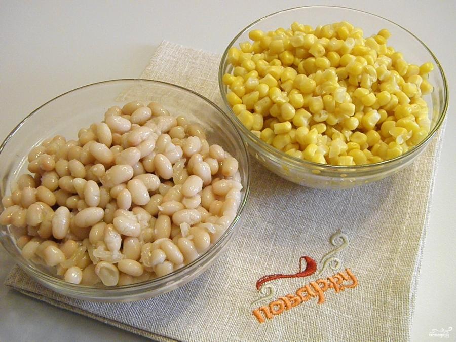 салат с кириешками рецепт с кукурузой и фасолью