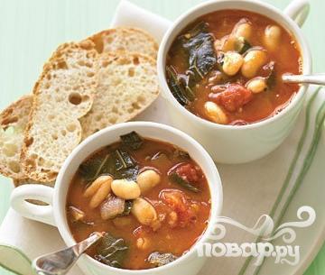 Рецепт Суп Минестроне с листовой капустой и белой фасолью