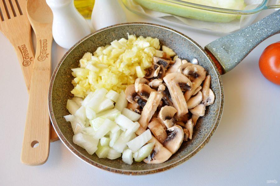 Лодочки из кабачков с грибами в духовке