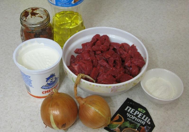 Рецепт Бефстроганов с томатной пастой
