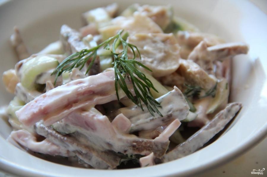 салат из языка с ветчиной рецепт с фото