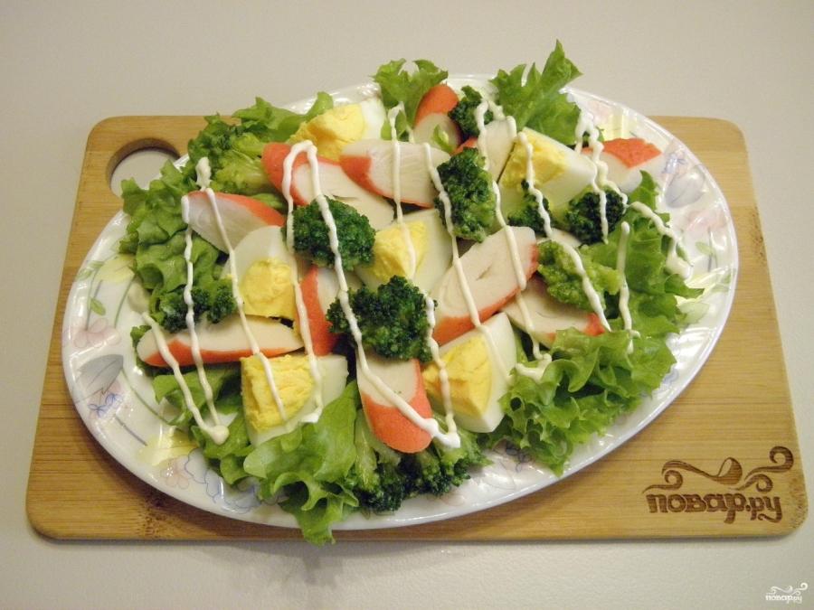 Салат с брокколи и крабовыми палочками - фото шаг 7