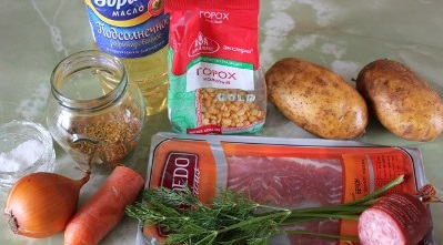 Рецепт Суп с горохом и копченой колбасой