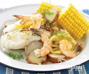 Рецепт Креветки с картофелем на гриле
