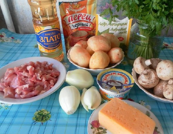 Рецепт Картошка с курицей и шампиньонами