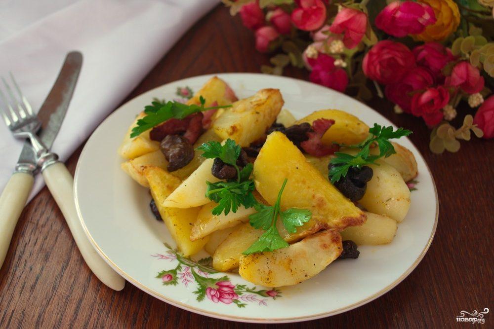 грибы с беконом в духовке рецепт с фото