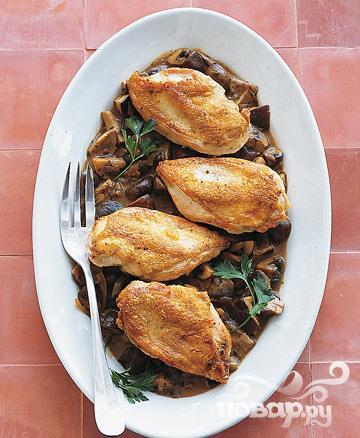 Жареная курица в соусе из грибов