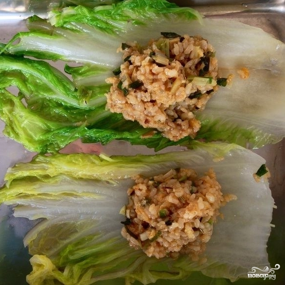 Китайская капуста, фаршированная коричневым рисом - фото шаг 5