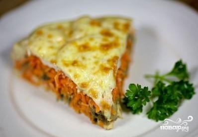 Запеканка с морковью, грибами и курицей