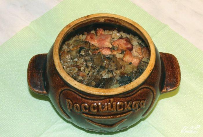 гречка в горшочке в духовке с курицей и грибами рецепт с фото в