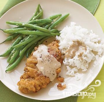 Рецепт Жареный стейк с зеленой фасолью и рисом