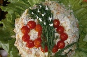 Салат из кальмаров и шампиньонов