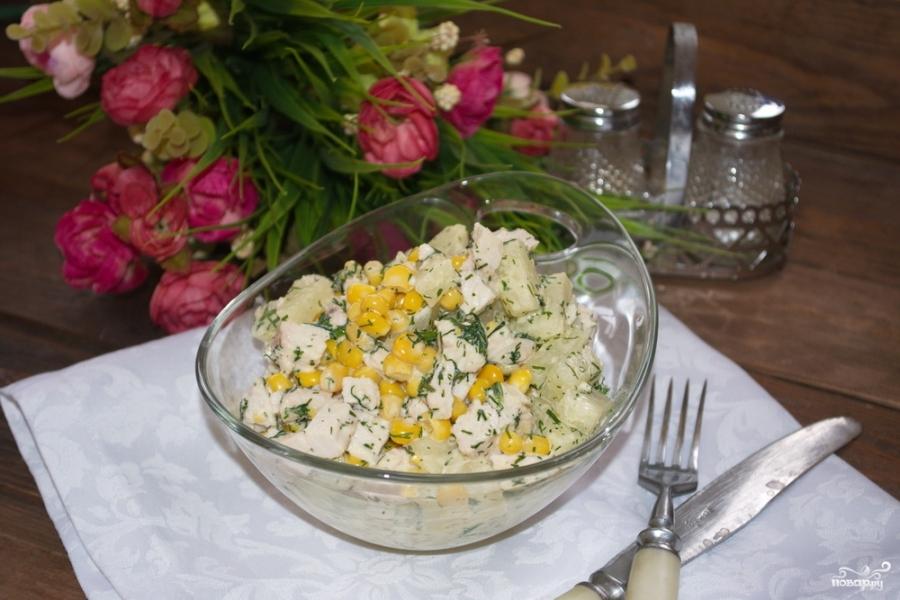 Салат с ананасом, и курицей, и кукурузой - фото шаг 5