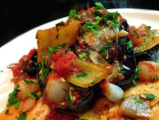 Баклажаны с раздельно обжаренными овощами