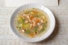 Суп из семги с зеленым горошком