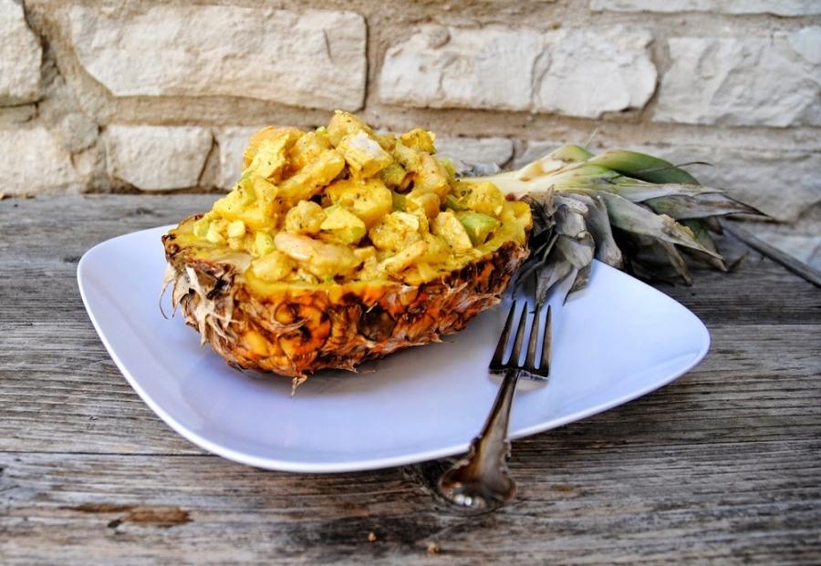 салат из курицы с ананасами и сыром пошаговый рецепт с фото