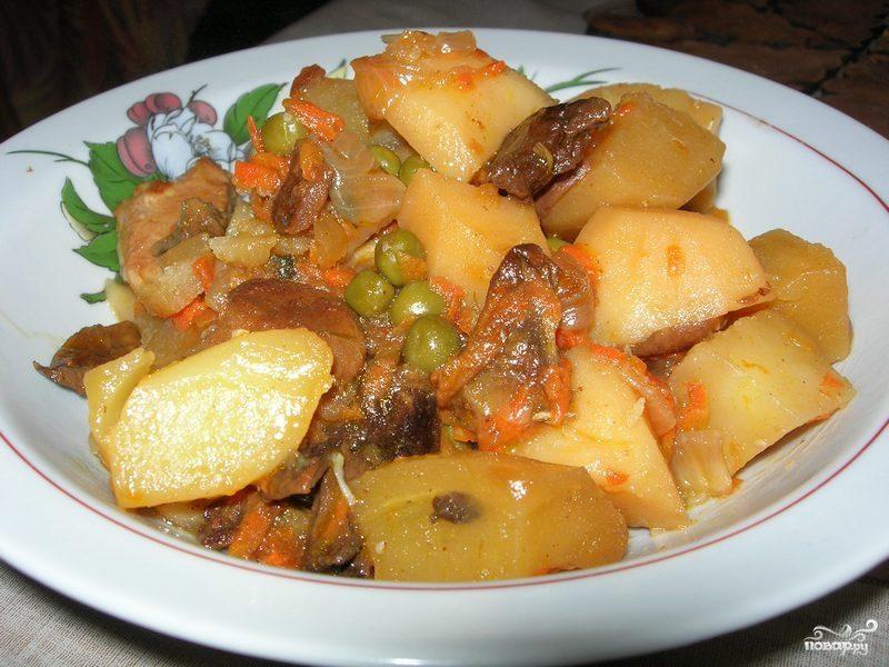Рецепт Картофель с мясом в микроволновке