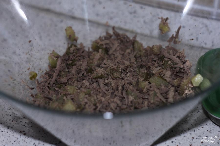 салат с печенью и солеными огурцами рецепт фото